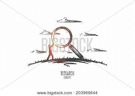 Research concept. Hand drawn man with magnifier as symbol of researching. Male scientist isolated vector illustration.