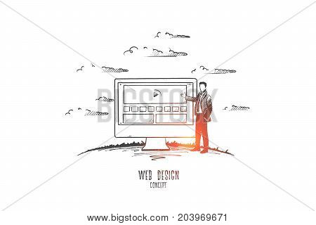 Web design concept. Hand drawn man developing web design. Website interface isolated vector illustration.