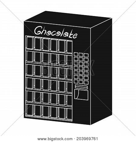 A terminal with different kinds of chocolate. Terminals single icon in black style isometric vector symbol stock illustration .