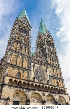 Towers Of The Historical Dom Church In Bremen