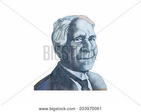 Portrait of Reverend David Unaipon from Australian 50 dollar isolated on white background.
