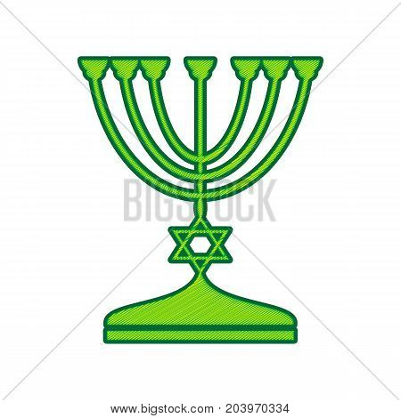 Jewish Menorah candlestick in black silhouette. Vector. Lemon scribble icon on white background. Isolated
