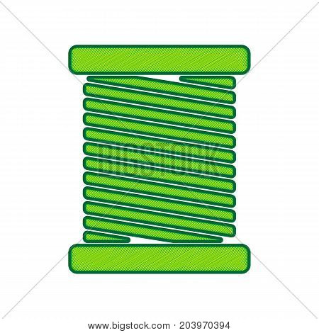 Thread sign illustration. Vector. Lemon scribble icon on white background. Isolated
