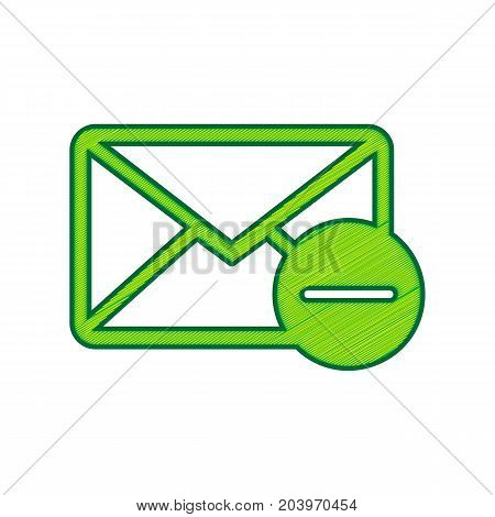 Mail sign illustration with remove mark. Vector. Lemon scribble icon on white background. Isolated