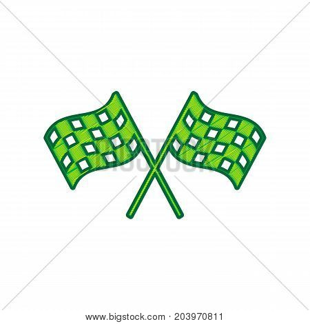 Crossed checkered flags logo waving in the wind conceptual of motor sport. Vector. Lemon scribble icon on white background. Isolated