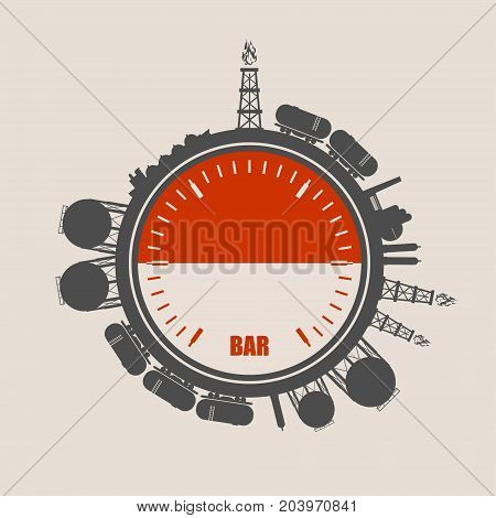Circle with energy relative silhouettes. Design set of natural gas industry. Objects located around the manometer circle. Flag of the Indonesia