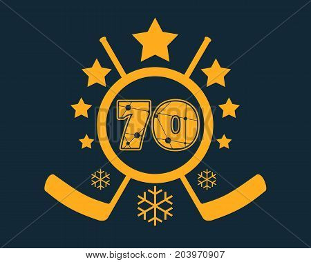 70 number vector illustration. Classic style Sport Team font. Numbers decorated by lines and dots pattern. Ice Hockey Emblem