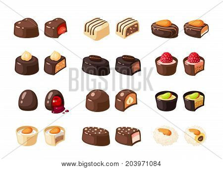 Set of chocolate covered bonbon stuffed nougat mousse cream. Vector illustration candy flat icon collection isolated on white.