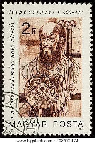 Moscow Russia - September 13 2017: A stamp printed in Hungary shows portrait of ancient Greek physician Hippocrates (460-370 BC) series