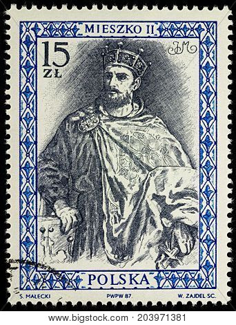 Moscow Russia - September 12 2017: A stamp printed in Poland shows Mieszko II Lambert (990-1034) King of Poland series