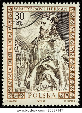 Moscow Russia - September 12 2017: A stamp printed in Poland shows Wladyslaw I Herman (1044-1102) Duke of Poland series