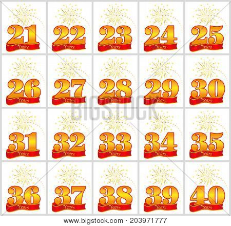 Set Of Gold Numbers From 21 To 40 And The Word Of The Year On The Background Of A Red Ribbon. Vector