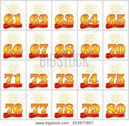 Set Of Gold Numbers From 61 To 80 And The Word Of The Year On The Background Of A Red Ribbon. Vector
