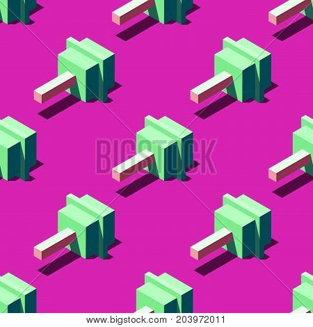 Seamless pattern of cubic lollipops on bright pink background. Retro design concept, Clipping mask used.