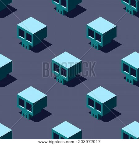 Seamless pattern of cubic skulls on light gray background. Retro design concept, Clipping mask used.
