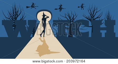 Posing witch silhouette in the light that poured into the room from the keyhole. Night forest and flying witches on backdrop. Halloween relative image