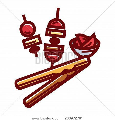 Tender cheese sticks and caprese appetizer isolated cartoon vector illustration on white background. Ripe cherry tomatoes, delicious mozzarella and the best olive oil on small skewers and in bowl.