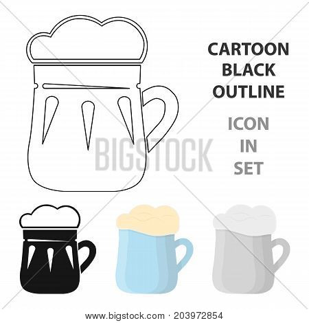 Mug of beer icon in cartoon design isolated on white background. Pub symbol stock vector illustration.