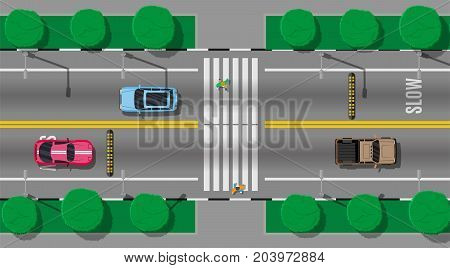Pedestrian crossing with speed bump. Vehicles on road. Cars waiting for people to cross the street. Traffic regulations. Rules of the road. Highway top view. Vector illustration in flat style