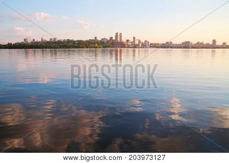 Urban landscape Quay of evening Dnepropetrovsk Dnieper river Ukraine