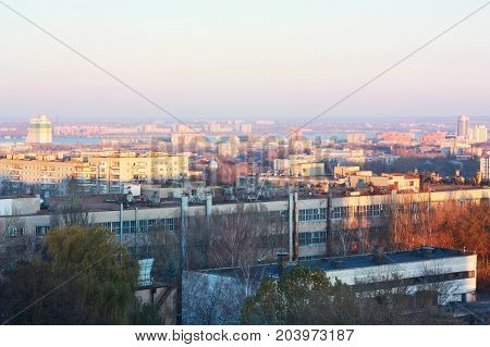 City Dnepropetrovsk (Dnepr) urban landscape view from above