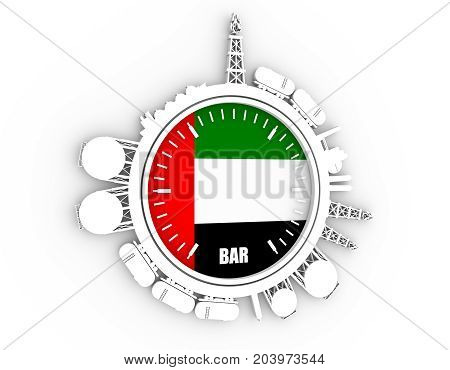 Circle with energy relative silhouettes. Design set of natural gas industry. Objects located around the manometer circle. 3D rendering. Flag of the United Arab Emirates