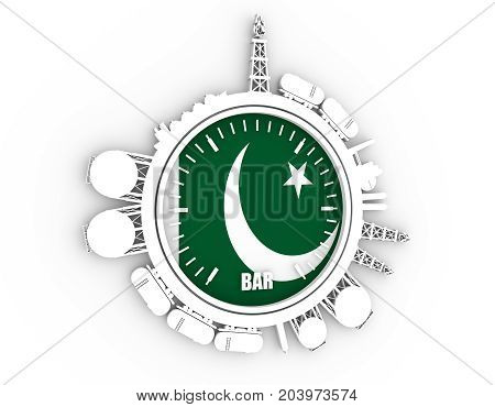 Circle with energy relative silhouettes. Design set of natural gas industry. Objects located around the manometer circle. 3D rendering. Flag of the Pakistan