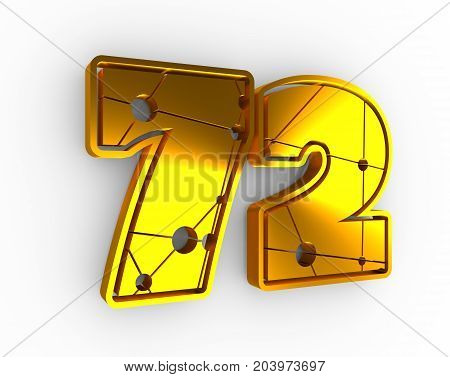 72 number illustration. Classic style sport team font. Golden material numbers decorated by lines and dots pattern. Ice hockey emblem. 3D rendering