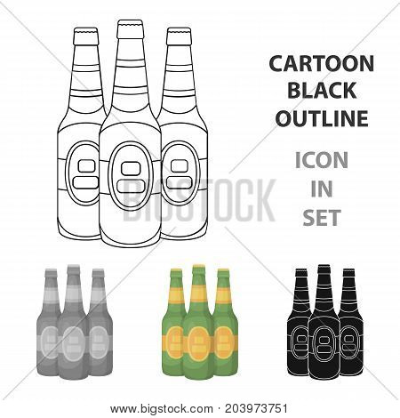 Green glass beer bottles. Alcoholic drink pub. Pub single icon in cartoon style vector symbol stock web illustration.