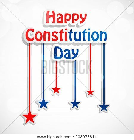 illustration of hanging stars with Happy Constitution Day text on the occasion of USA Constitution Day