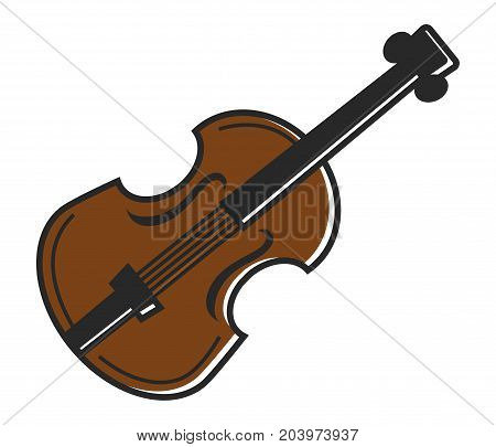 Violin fiddle musical instrument for traditional Australian music. Vector isolated flat icon of stirnged bass or contrabass