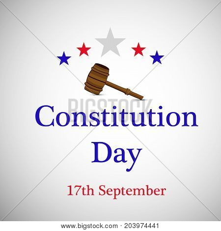 illustration of gavel and stars with Constitution Day 17th September text on the occasion of USA Constitution Day