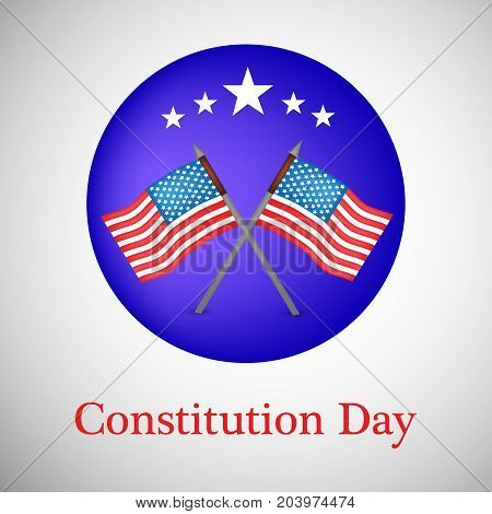 illustration of USA flags and stars  with Constitution Day text on the occasion of USA Constitution Day