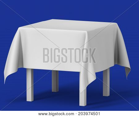 White square isolated table with short tablecloth. set on blue background. 3d illustration template BTL below-the-line 3d illustration