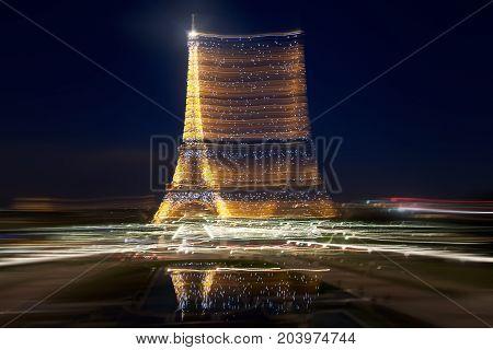 France, Paris - Spring 2008: Eiffel Tower at night. Long exposure.