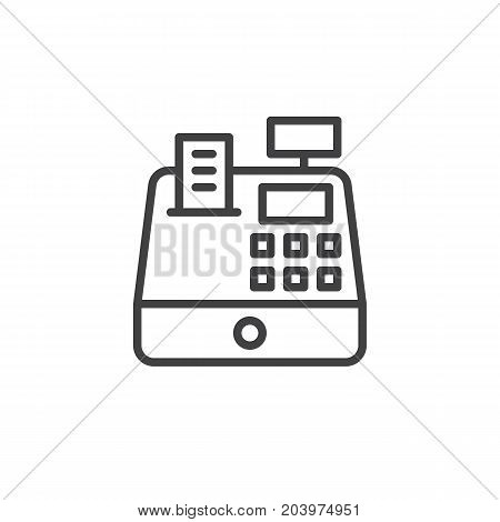 Cash register line icon, outline vector sign, linear style pictogram isolated on white. Symbol, logo illustration. Editable stroke. Pixel perfect vector graphics