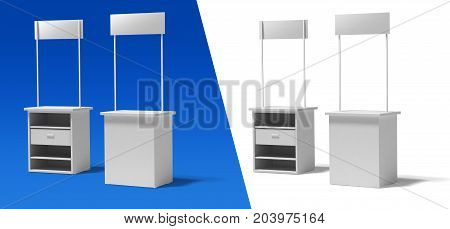 Blank rectangle promotion stands on a white and blue background. front and back.3d illustration template BTL below-the-line .