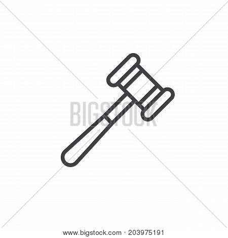 Auction hammer line icon, outline vector sign, linear style pictogram isolated on white. Gavel symbol, logo illustration. Editable stroke. Pixel perfect vector graphics