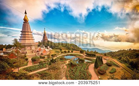 Chedi of King and Queen at Doi Inthanon National Park, Chiang mai - Thailand