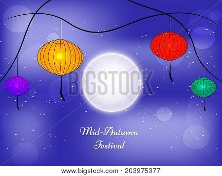 illustration of lamps and moon with Mid Autumn Festival text on the occasion of harvest festival Mid Autumn celebrated in most East Asian Countries such as China and Vietnam.