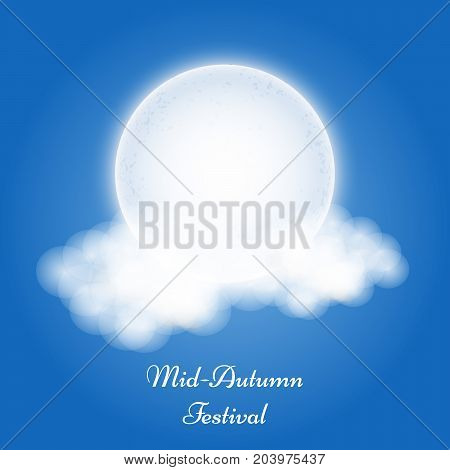 illustration of clouds and moon with Mid Autumn Festival text on the occasion of harvest festival Mid Autumn celebrated in most East Asian Countries such as China and Vietnam.