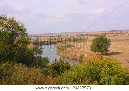 Landscape, river in the forest-steppe zone, summer