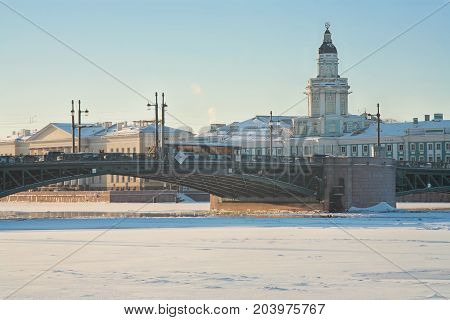 St. Petersburg Cabinet of curiosities and Palace Bridge in winter
