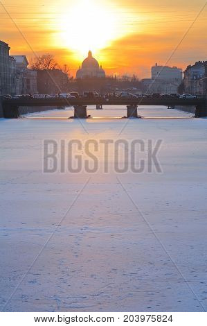 St. Petersburg urban landscape Fontanka river at sunset in winter