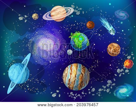 Cartoon scientific space background with planets of solar system moon comets nebulas meteors asteroids vector illustration
