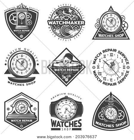 Vintage watches repair service labels set with repairman mechanisms and clocks in monochrome style isolated vector illustration
