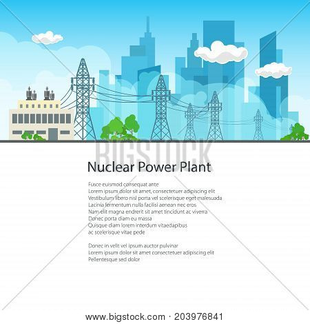 High Voltage Power Lines Supplies Electricity to the City and Text Poster Brochure Flyer Design Vector Illustration