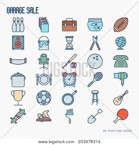 Garage sale or flea market thin line icons set. Vector illustration for banner, web page, print media.