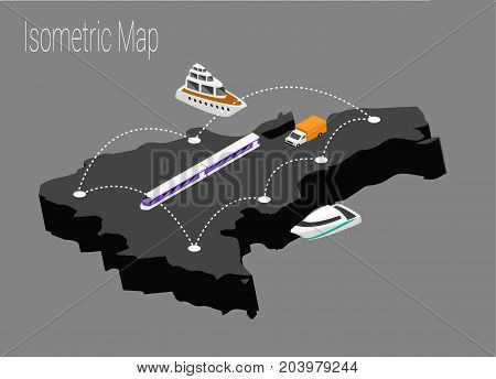 Map Dominican Republic isometric concept. 3d flat illustration of Map Dominican Republic.