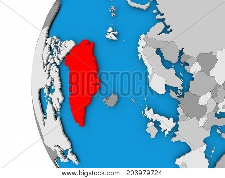 Map Of Greenland On Political Globe